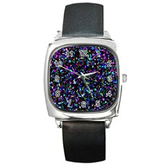 Glitter 1 Square Leather Watch
