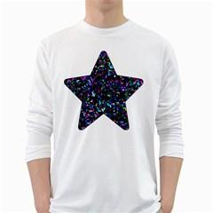 Glitter 1 Men s Long Sleeve T Shirt (white)