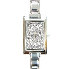 Drawing Floral Doodle 1 Rectangular Italian Charm Watch