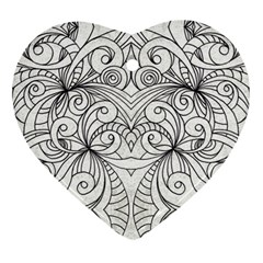 Drawing Floral Doodle 1 Heart Ornament
