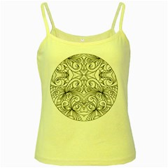 Drawing Floral Doodle 1 Yellow Spaghetti Tank