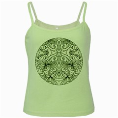 Drawing Floral Doodle 1 Green Spaghetti Tank