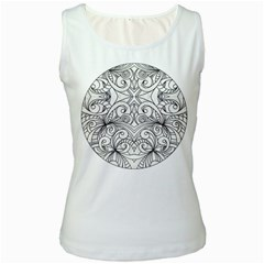 Drawing Floral Doodle 1 Women s Tank Top (White)