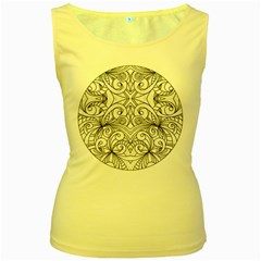 Drawing Floral Doodle 1 Women s Tank Top (yellow)