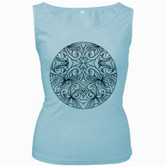 Drawing Floral Doodle 1 Women s Tank Top (Baby Blue)