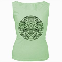 Drawing Floral Doodle 1 Women s Tank Top (Green)