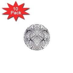 Drawing Floral Doodle 1 1  Mini Button Magnet (10 pack)