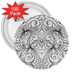 Drawing Floral Doodle 1 3  Button (100 pack)