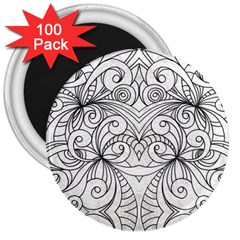 Drawing Floral Doodle 1 3  Button Magnet (100 pack)