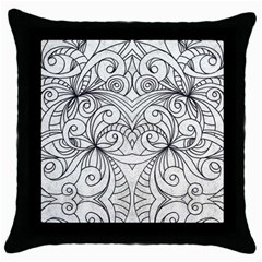 Drawing Floral Doodle 1 Black Throw Pillow Case