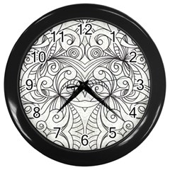 Drawing Floral Doodle 1 Wall Clock (Black)