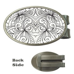 Drawing Floral Doodle 1 Money Clip (oval)