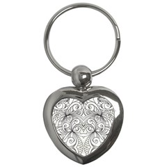 Drawing Floral Doodle 1 Key Chain (Heart)