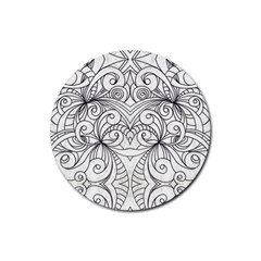 Drawing Floral Doodle 1 Drink Coasters 4 Pack (Round)