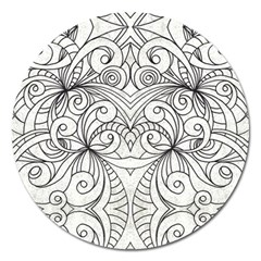 Drawing Floral Doodle 1 Magnet 5  (round)