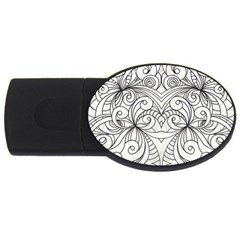 Drawing Floral Doodle 1 2GB USB Flash Drive (Oval)