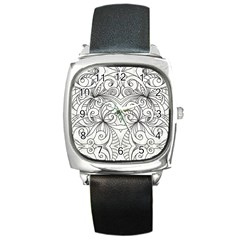 Drawing Floral Doodle 1 Square Leather Watch
