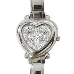 Drawing Floral Doodle 1 Heart Italian Charm Watch