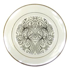Drawing Floral Doodle 1 Porcelain Display Plate