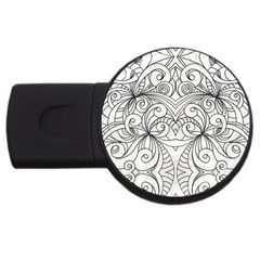 Drawing Floral Doodle 1 4gb Usb Flash Drive (round)