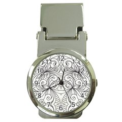 Drawing Floral Doodle 1 Money Clip with Watch