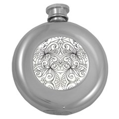Drawing Floral Doodle 1 Hip Flask (round)