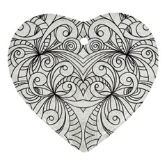Drawing Floral Doodle 1 Heart Ornament (Two Sides)