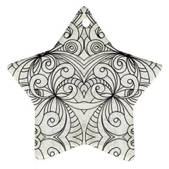 Drawing Floral Doodle 1 Star Ornament (Two Sides)