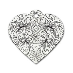 Drawing Floral Doodle 1 Dog Tag Heart (two Sided)