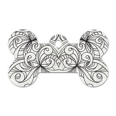 Drawing Floral Doodle 1 Dog Tag Bone (Two Sided)