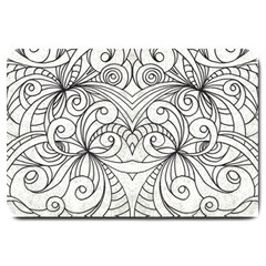 Drawing Floral Doodle 1 Large Door Mat