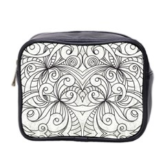 Drawing Floral Doodle 1 Mini Travel Toiletry Bag (Two Sides)