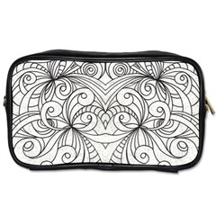 Drawing Floral Doodle 1 Travel Toiletry Bag (two Sides)