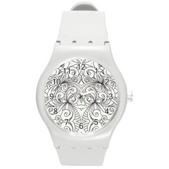 Drawing Floral Doodle 1 Plastic Sport Watch (Medium)
