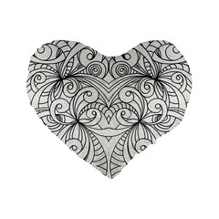 Drawing Floral Doodle 1 16  Premium Heart Shape Cushion