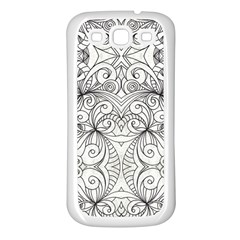 Drawing Floral Doodle 1 Samsung Galaxy S3 Back Case (White)