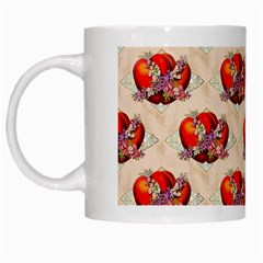 Vintage Valentine Hearts White Coffee Mug