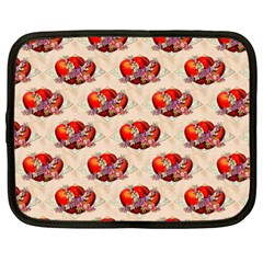 Vintage Valentine Hearts Netbook Sleeve (Large)