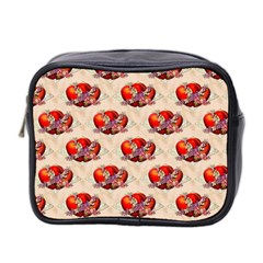 Vintage Valentine Hearts Mini Travel Toiletry Bag (Two Sides)