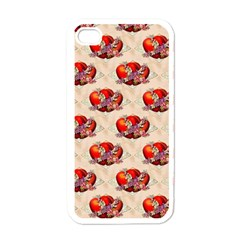 Vintage Valentine Hearts Apple iPhone 4 Case (White)