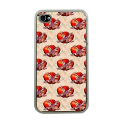 Vintage Valentine Hearts Apple iPhone 4 Case (Clear)