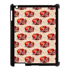 Vintage Valentine Hearts Apple iPad 3/4 Case (Black)