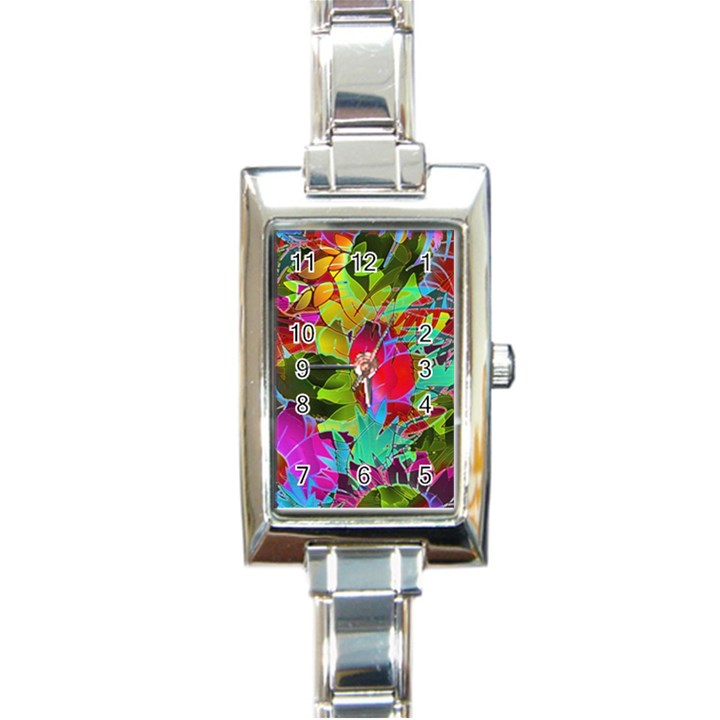 Floral Abstract 1 Rectangular Italian Charm Watch
