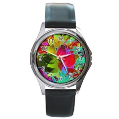 Floral Abstract 1 Round Leather Watch (Silver Rim)