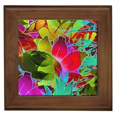 Floral Abstract 1 Framed Ceramic Tile
