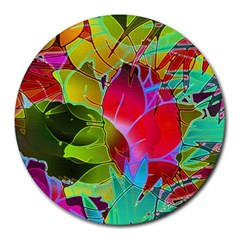 Floral Abstract 1 8  Mouse Pad (Round)