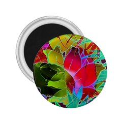 Floral Abstract 1 2 25  Button Magnet