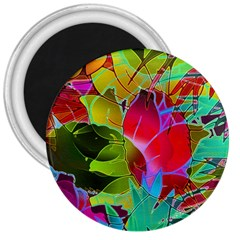Floral Abstract 1 3  Button Magnet