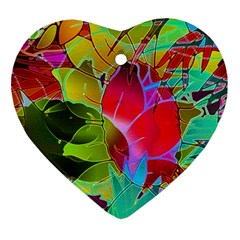 Floral Abstract 1 Heart Ornament