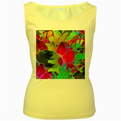 Floral Abstract 1 Women s Tank Top (Yellow)